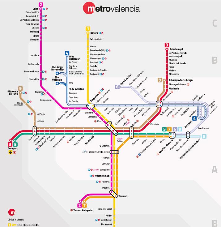 バレンシアの地下鉄(メトロ)路線図