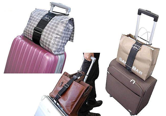 キャリーバッグに載せた荷物がずり落ちるのを防ぐベルト